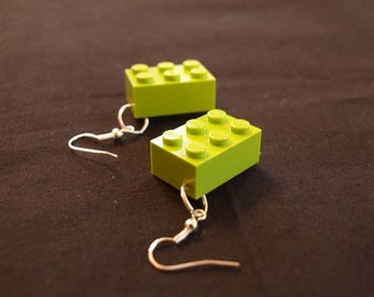 Lime Lego Block Earrings