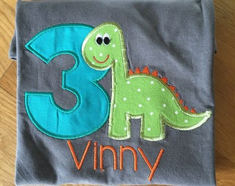 T Rex dinosaur birthday shirt 3rd birthday, three boys dino birthday shirt, orange turquoise lime green, Roar dino shirt 3 birthday
