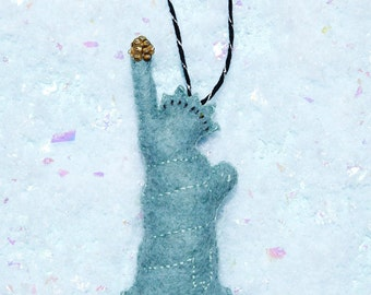 Handmade Felt Statue of Liberty Christmas Ornament