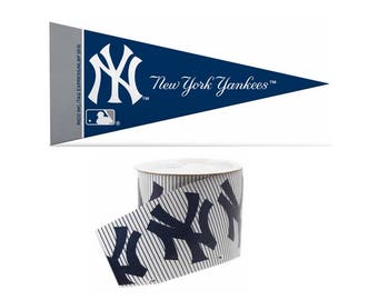 "2.5"" MLB New York Yankees Ribbon, 9 feet & Mini Pennant, Licensed MLB Offray Ribbon"