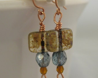 Blue and amber glass bead and copper wire earrings