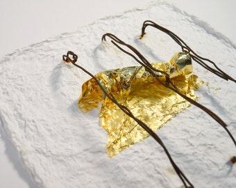 Wall art, contemporary art, abstract art, Laura Toso, OOAK, 3D art, paper art, gold 22 kt, rusty wire, ready to hang, zuelab, minimal art