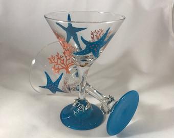 Star Fish and Coral Blue Martini Glasses