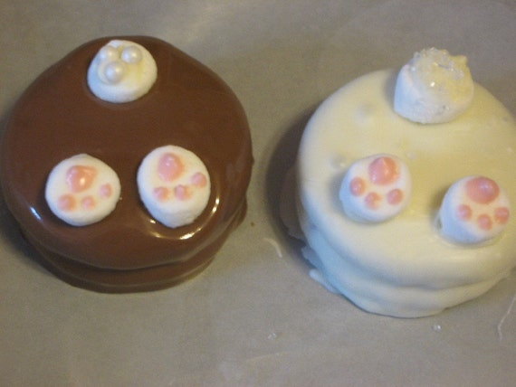 One dozen bunny behind chocolate covered sandwich cookie party favors