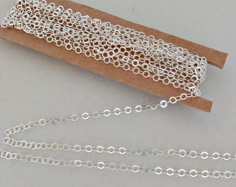 1 ft. 925 Sterling Silver Chain, 3.5mm Round Flat Cable with 1mm rim