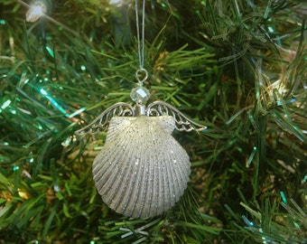 Beach Christmas – Coastal Christmas –  Stocking Stuffer - Angel Ornament – Beach Ornament –Seashell Ornaments –Seashell Angel –Scallop Shell
