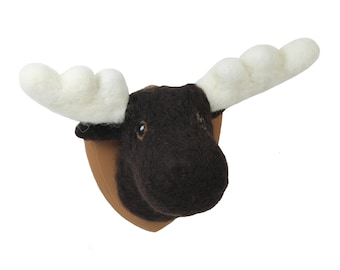 Handmade Needle Felted Moose head Trophy small made to order