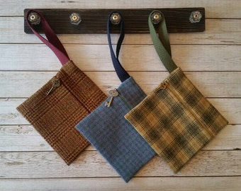 Wool wristlet,Phone case,Plaid bag,Plaid wool bag