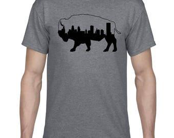 Buffalo NY Skyline Bison T-shirt Buffalove