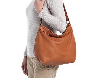 Tan leather  bag - Leather hobo bag  - Large leather hobo bag -  LARGE HELEN BAG