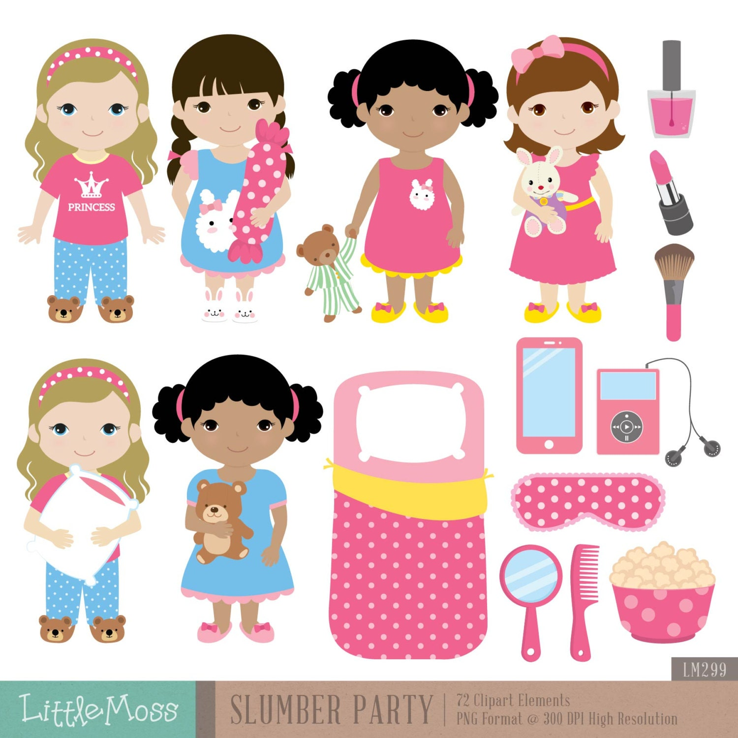 slumber party digital clipart from littlemoss on etsy studio pajama party clip art hd christmas pajama party clipart