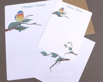 Letter Writing Set, Personalized Stationary, Stationery, Flat Note Cards, Note Card, Letter Writing Paper, Garden Art, Bluebird, Bird, Tree