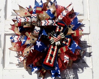 Patriotic Wreath, Summer Wreath, Patriotic Decor, 4th of July Wreath