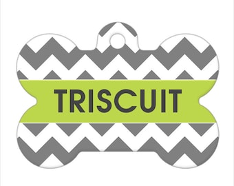 Personalized Pet ID Tag - Triscuit Chevron Custom Name Pet Tag, Dog Bone Pet Tag, Dog Tag