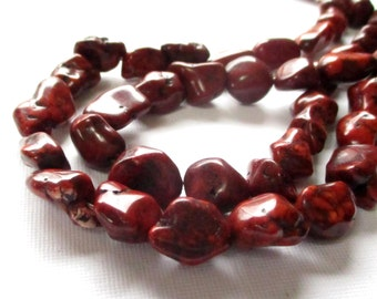 """Brown Nugget Beads - Howlite Pebbles Drilled Nugget - Chocolate Brown Smooth Gemstone Beads - 16"""" Strand - 14mmx8mm - DIY Jewelry Making"""