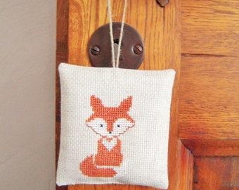 Lavender sachet, door cushion little Fox, linen and lavender