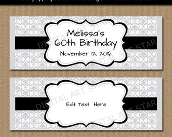 Silver Black Candy Wrappers - Birthday Candy Bar Wrapper Template, Printable Damask Candy Labels, Retirement Party Favors Instant Download
