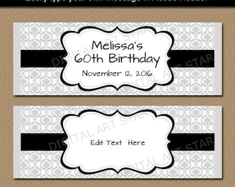 Silver Black Candy Wrappers   Birthday Candy Bar Wrapper Template,  Printable Damask Candy Labels,
