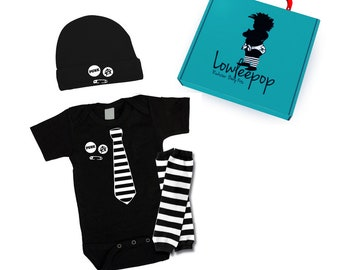 ROCKSTAR BABY KIT Striped Tie onesie with Punk Pins, leg warmers, hat & optional gift box