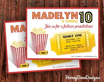 PRINTABLE Movie Birthday Invitation Popcorn Ticket Movie Theater Party Cinema