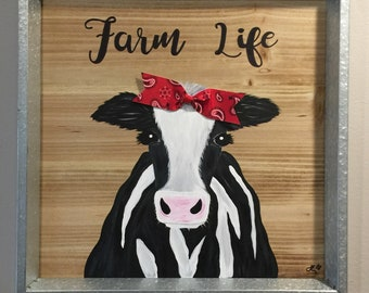 Hand Painted Cow Wood and Metal Sign