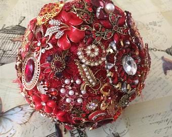 Small Rhinestone Wedding Brooch Bouquet - Diamante Red crystal & Pearl Jewels Vintage Hollywood Style Heirloom Keepsake Bridal Wedding Gift