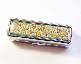 Lipstick case with mirror, Lipstick Case, Mosaic lipstick case, Lipbalm Case, lipstick holder, case for lipstick, Mothers Day Gift (4851)