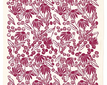 Coneflower Organic Kitchen Towel - beet red or marigold yellow