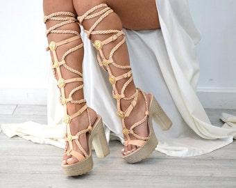 Aphrodite sandals/ Heel sandals/ Lace sandals/ High heels/ Strappy leather sandals/ heeled sandals, boho sandals/ Gladiator sandals