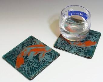 Koi Fused Glass Coaster 2-pack