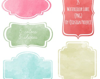 25 Watercolor Labels Clipart Scrapbook embellish Blog Graphics Personal and Commercial UseInstant Download