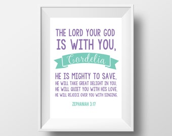 Bible Verse Zephaniah 3:17 Baby Child Name Printable 8.5x11 inches DIGITAL ITEM - Print Yourself