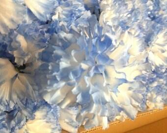 100 Light Blue Carnations Artificial Silk Flower Pick