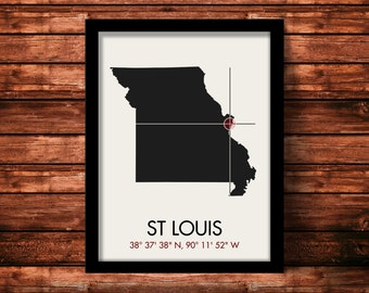 St Louis Map Print | St Louis Map Art | St Louis Print | St Louis Gift | Missouri Map | 11 x 14 Print