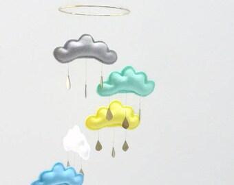 Gender neutral Star mobile-cloud mobile-White nursery-Mint nursery-baby boy nursery-boy nursery-mobile- grey nursery-neutral nursery decor
