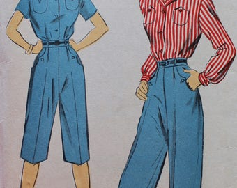 Vintage Sewing Pattern - 1950s Shirt, Slacks, and Pedal Pushers Pattern - Advance 5882