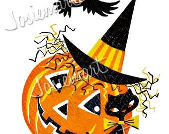 Halloween Digital Download Pumpkin Owl Cat Vintage Image Collage Large JPG