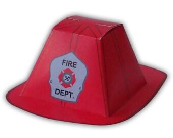 Firefighter Helmet Gift Box Favor Party Printable Color Template Digital PDF (custom helmet colors available)