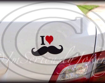 I Heart Mustache Decal - The Handlebar- Little Man Party- Mustache sticker- car decal