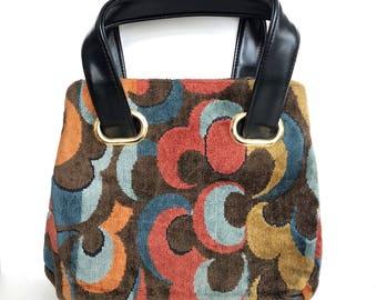 Vintage Carpet Bag,  Groovy 1960's Tapestry Bag by JR USA, Chenille Velvet Handbag Psychedelic Swirls, Mod 1970's Purse