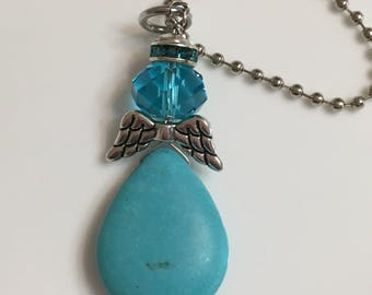 Zipper pull, Guardian angel, Purse charm, Key chains, Zipper charms, Key charms, Blue, Turquoise, Magnesite, Stone, Gifts for her,