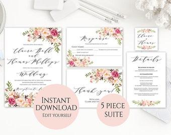 Wedding Invitation Template, Invitation Set Template, Template Download, Floral Wedding Invitation, Editable Wedding Invite, Printable, C1