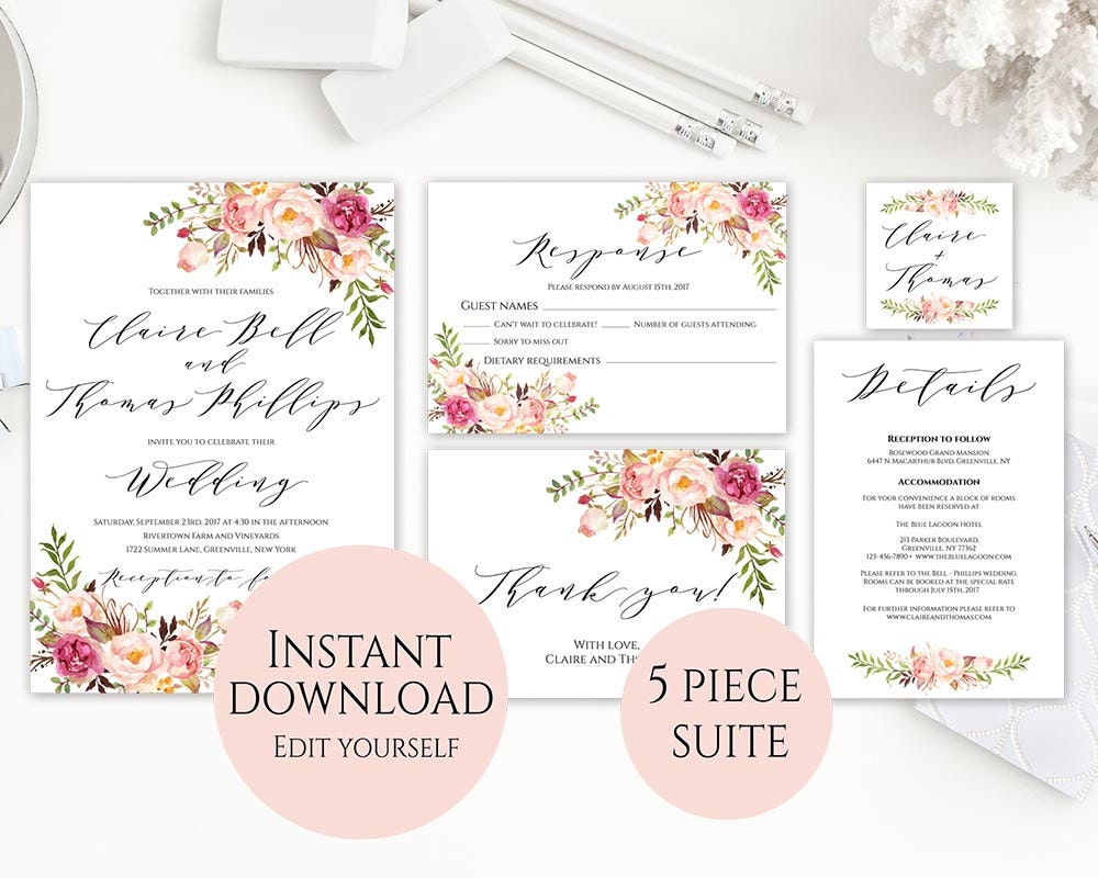 Wedding Invitation Template Invitation Set Template Template