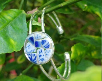Porcelain and sterling silver cuff bracelet