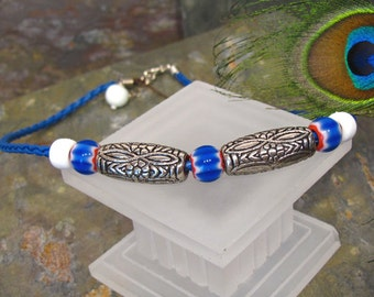 """SALE - Cobalt Blue Recycled Glass ~ UNISEX Beach Necklace ~ Braided Leather - adjustable 16-18"""""""