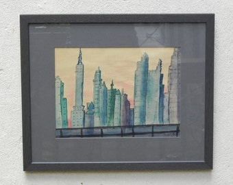 Cityscape Original Watercolor in Blues and Greens, Newly Framed