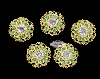 5 Green - Rhinestone Flat Back Buttons - Flatback Buttons - Rhinestone Embellishment Button - Brooch Bouquet Wedding Jewelry Hair bows Cakes