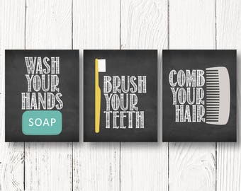 Wash Your Hands - Brush Your Teeth - Comb Your Hair - Fun Bathroom Printables - Bathroom Chalkboard Signs - INSTANT DOWNLOAD - Size 8x10