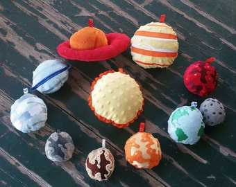 Plush Stuffed Solar System Play Set , Available in 3 sizes , Sold as a Set of 9 Planets