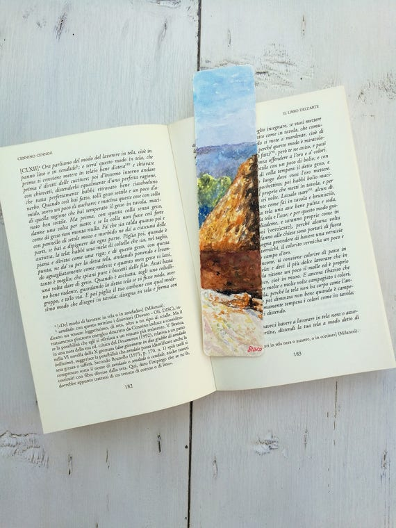 Bookmark Watercolor, handmade, paper bookmarks, custom bookmarks, wedding favors-Impressionists #5